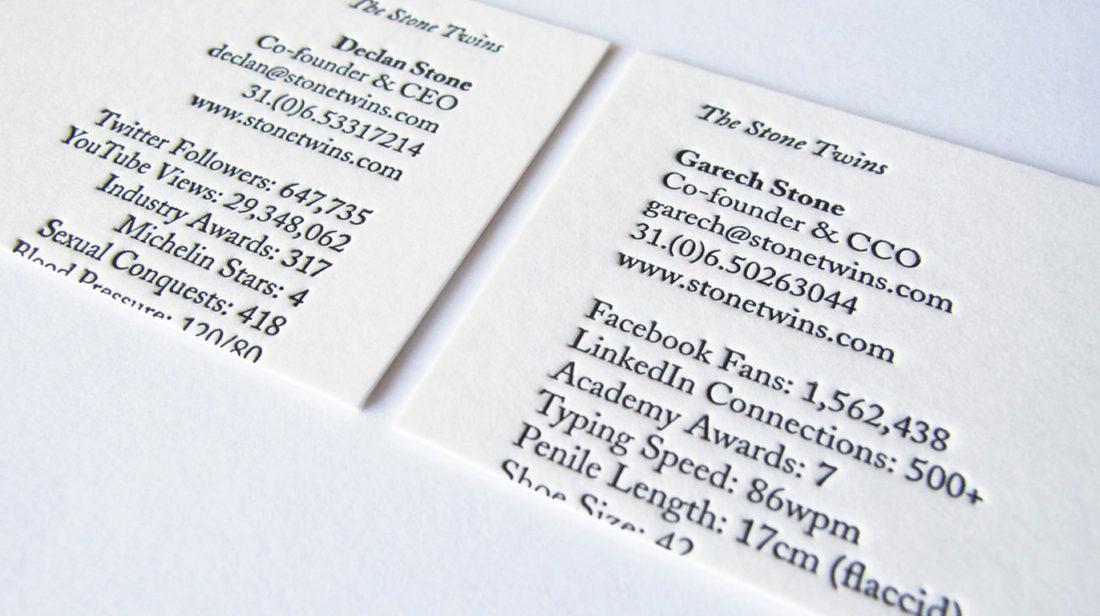 The Stone Twins (Business Cards) – European Design